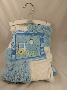 Blue-White-Train-Baby-Blanket-Fluffy-Dots-A-D-SUTTON-amp-SONS-INC-Unused