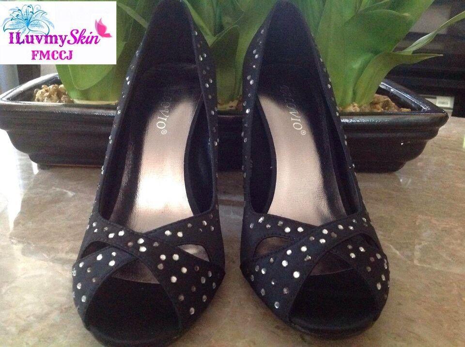 PALOVIO Color BLACK Heels Peep Toe Heels BLACK Size 6.5 88a174