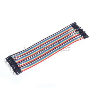 40PCS Dupont Wire Color Jumper Cable2.54mm 1P-1P Male to Female Arduino 20CM SAL
