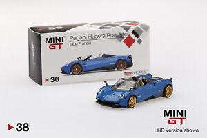 Pagani-Huayra-Roadster-Azul-Francia-RHD-escala-1-64-por-Mini-GT