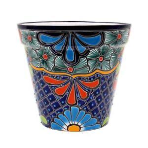 Ravenna Pottery Talavera 10 in. Blue Ceramic Vase Planter
