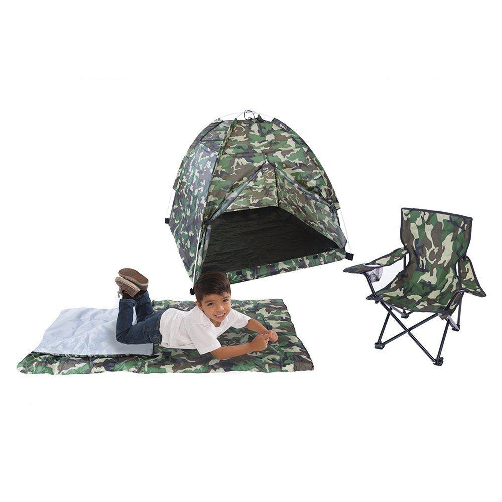 Barn spelar Tent grön Camo Set Sovande Bag stol Låtsas Camp Boy Gift Ny
