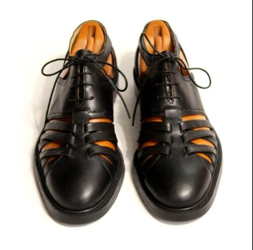18 British Men retro Leather Lace Up Pointed Toe Hollow Out Dress Formal Sandals
