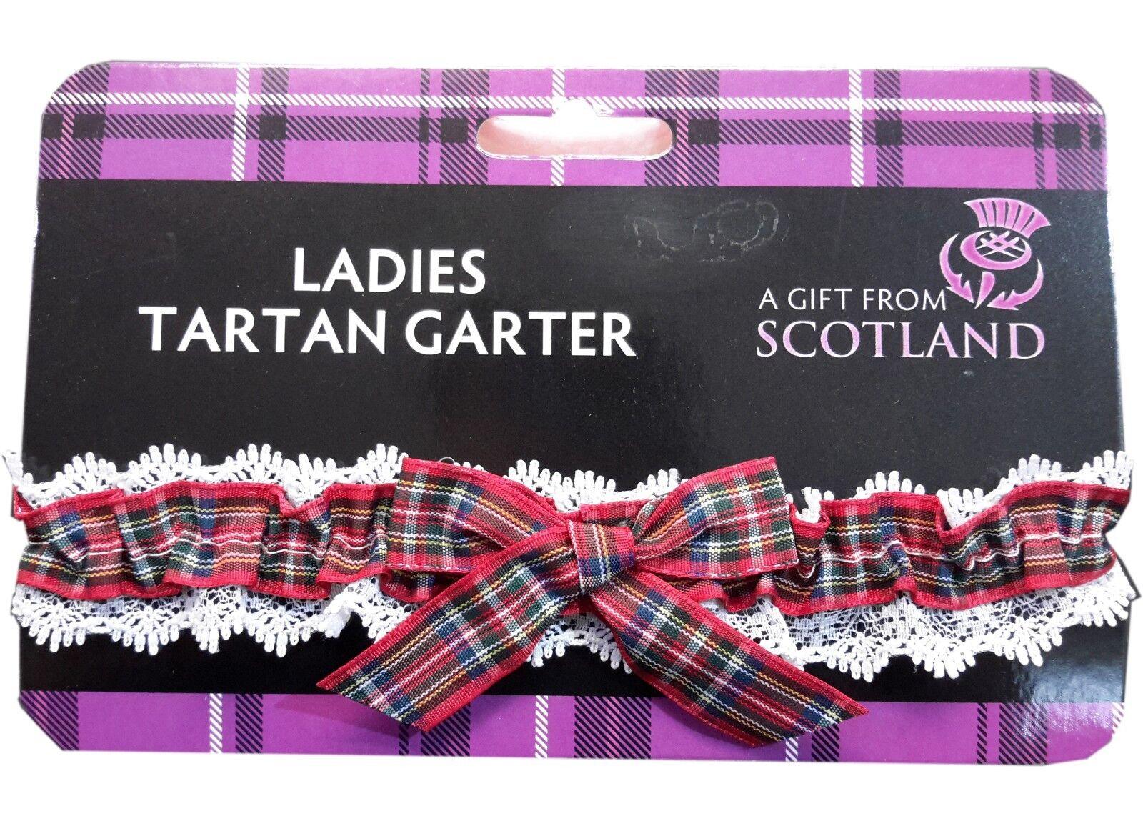 Ladies Elasticated Garter Scottish Tartan Royal Stewart Party Night out