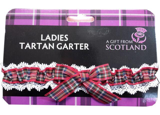 Ladies Elasticated Garter Scottish Green Tartan Party Night Out Wedding
