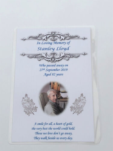 10 x Personalised A6 Funeral Remembrance Memorial Keepsake Laminated cards M3