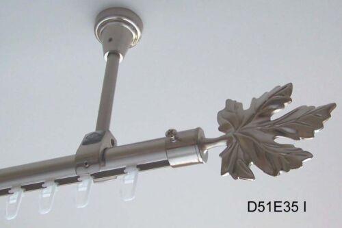 Innenlauf Edelstahl Look Gardinenstange 20mm Deckenträger 1-läufig D51 I
