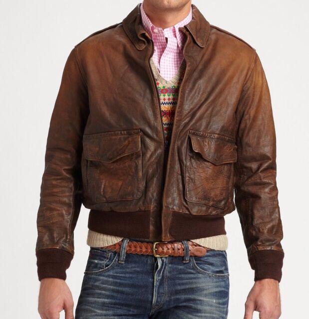 b86bd6e08 Polo Ralph Lauren Mens Brown Vintage Slim Leather Farrington Bomber Jacket  NWT