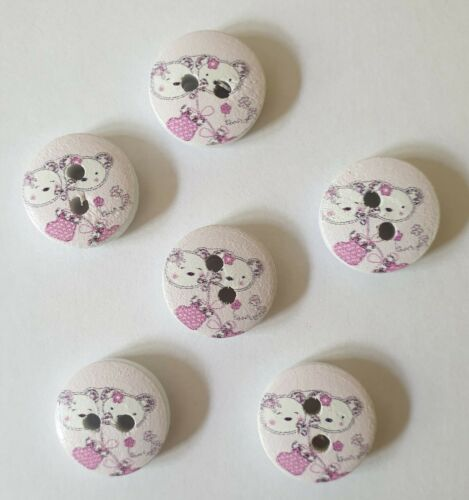 Blues, Browns /& Pink//White Cute Teddy Bear Buttons Size 15mm