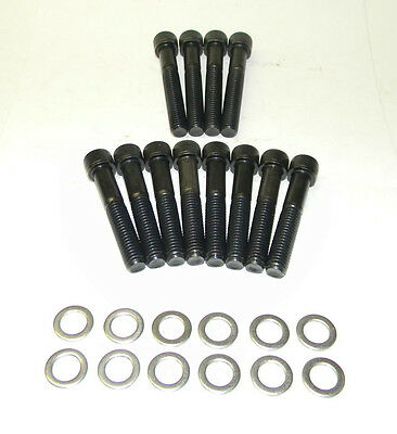 Chevy 1955-81 SB 283 327 350 Rams Horn 12Pt Bl Oxide GR 8 Exhaust Bolt Kit NEW