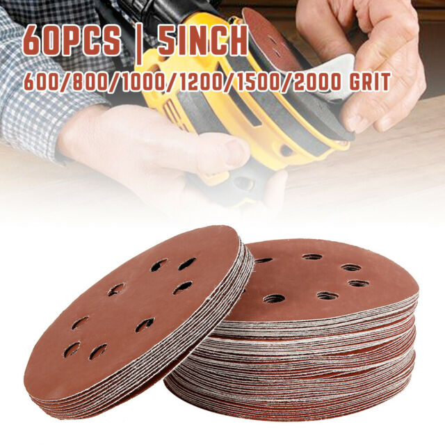 30 PACK 125MM ASSORTED GRIT HOOK /& LOOP PUNCHED SANDING DISCS 60 240G 120 80