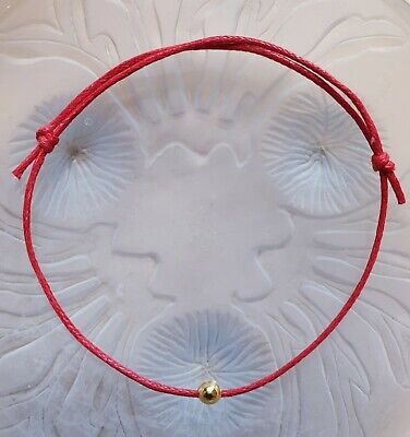 Red String Bracelet with Gold Bead Slip Knot Bracelet Love Luck Free Postage