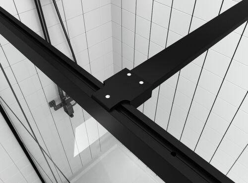 120cm Duschabtrennung Duschkabine Duschwand Schwarz Walk In NANO Echtglas Dusche