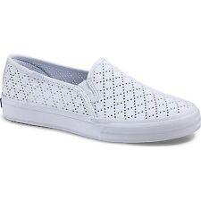 Keds WF57089 Women's Double Decker Perf Sneakers, White, 6.5 M US