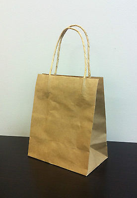 200pcs Toddler KRAFT  Paper Gift Carry Shopping Bags with handles 200x170x100