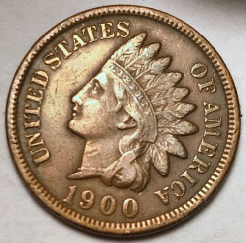 XF FREE SHIPPING 1900 Indian Head Cent Penny FULL LIBERTY VF