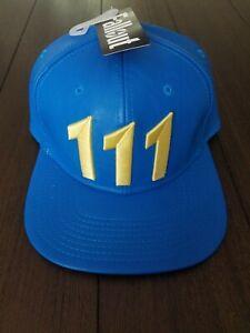 Blue Fallout 4 Video Game Vault 111 Bethesda Snapback Baseball Flat Bill Hat Cap