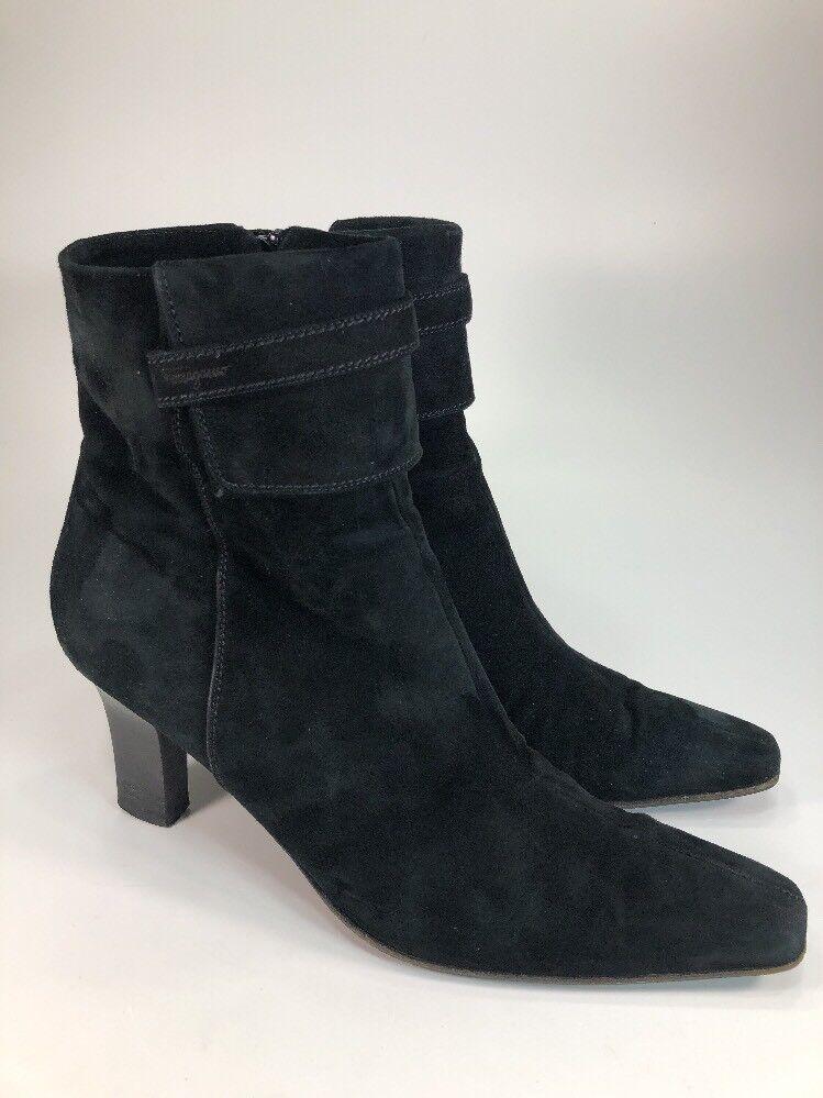 Salvatore Ferragamo Black Suede Side Zip Ankle Boots 9.5 B