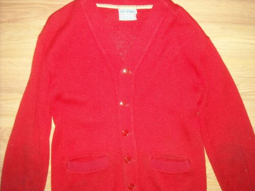 VTG 50S MENS NEW YORKER WOOL RED BUTTON CARDIGAN L