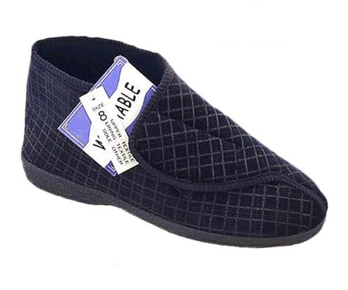 MENS WIDE FIT EASY CLOSE SLIPPER BOOT DISABLED COMFORT WASHABLE 6-12 NEW