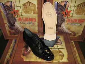 MENS GENUINE AUTHENTIC BLACK CROCODILE & TEJU LIZARD DRESS SHOE (D) ZVD937051
