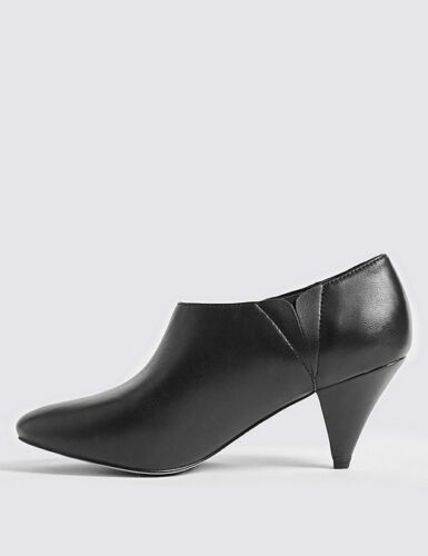 M/&S COLLECTION Wide Fit Leather Cone Heel Shoe Boots with Insolia