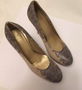Stuart-Weitzman-Snakeskin-Textured-Print-Embossed-Leather-Heels-Pump-Shoe-7-5-M
