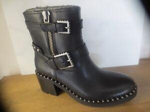 sports shoes c82c6 3ca23 Dettagli su ASH Stivali Xenon pelle nero NUOVE Valore 290E Dimensioni 36,  37,39
