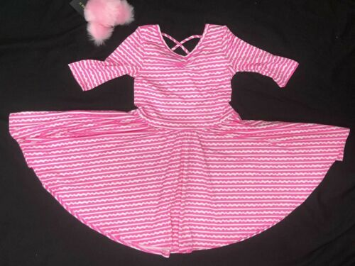 NEW Dot Dot Smile Ballerina Twirly Dress Knit Girl Kids Geometric pink waves