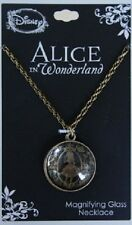 Disney Alice In Wonderland Burnished Gold Tone Magnifying Glass Pendant Necklace