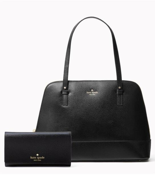 ff0ca52d8384 KATE SPADE Grand Street RACHELLE Black Leather Bag + NIKA Clutch Wallet SET  NWT