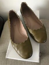 GUC * Chloe Lauren Ballet Flat * Military Green * Nappa Leather * Size 38 *