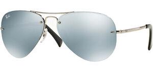 Ray-Ban Silver-Tone Aviator Sunglasses w/ Mirror Lens RB3449 00330 59 - Italy