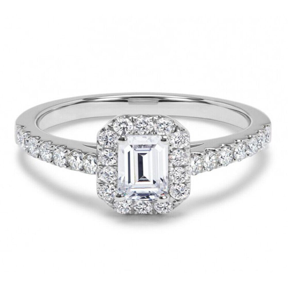 0.85 Ct Emerald Cut Diamond Engagement Ring 14K White gold Rings Size 5 6 7 7.5