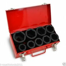 """10 PC 1"""" ONE INCH DRIVE DR LARGE SIZE AIR BLACK IMPACT SOCKET WRENCH TOOL SET MM"""