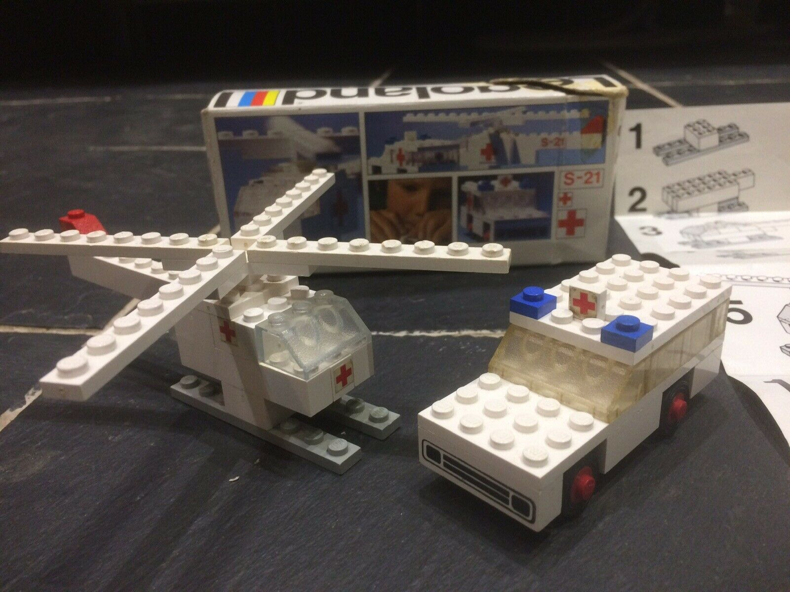 Vintage LEGO Set 653 Ambulance and Helicopter complete with BOX