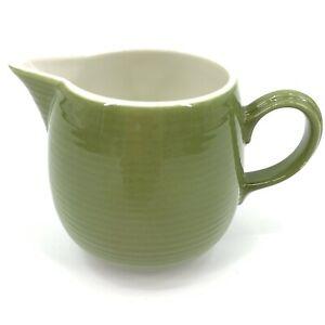 Vintage-Creamer-Mid-Century-MCM-Avocado-Green-Swirl-Lines-Ceramic-Kitchen-Retro