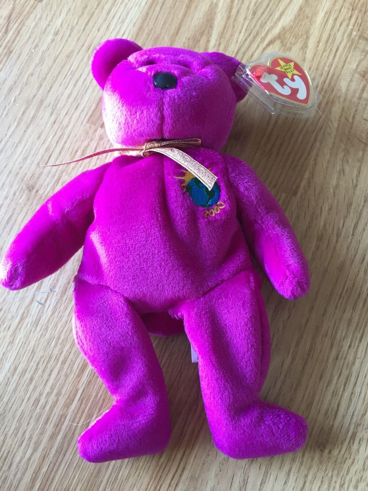 Ty Beanie Baby Millennium Burgundy Bear 1999 2OF4 Error  Millenium
