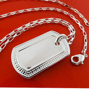 Dog-tag-Pendant-Necklace-Chain-Real-925-Sterling-Silver-S-F-Solid-Unisex-Design