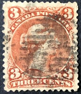 CANADA 1868 QUEEN VICTORIA  'LARGE QUEEN' ISSUE - 3 cent ORANGE RED USED F-VF