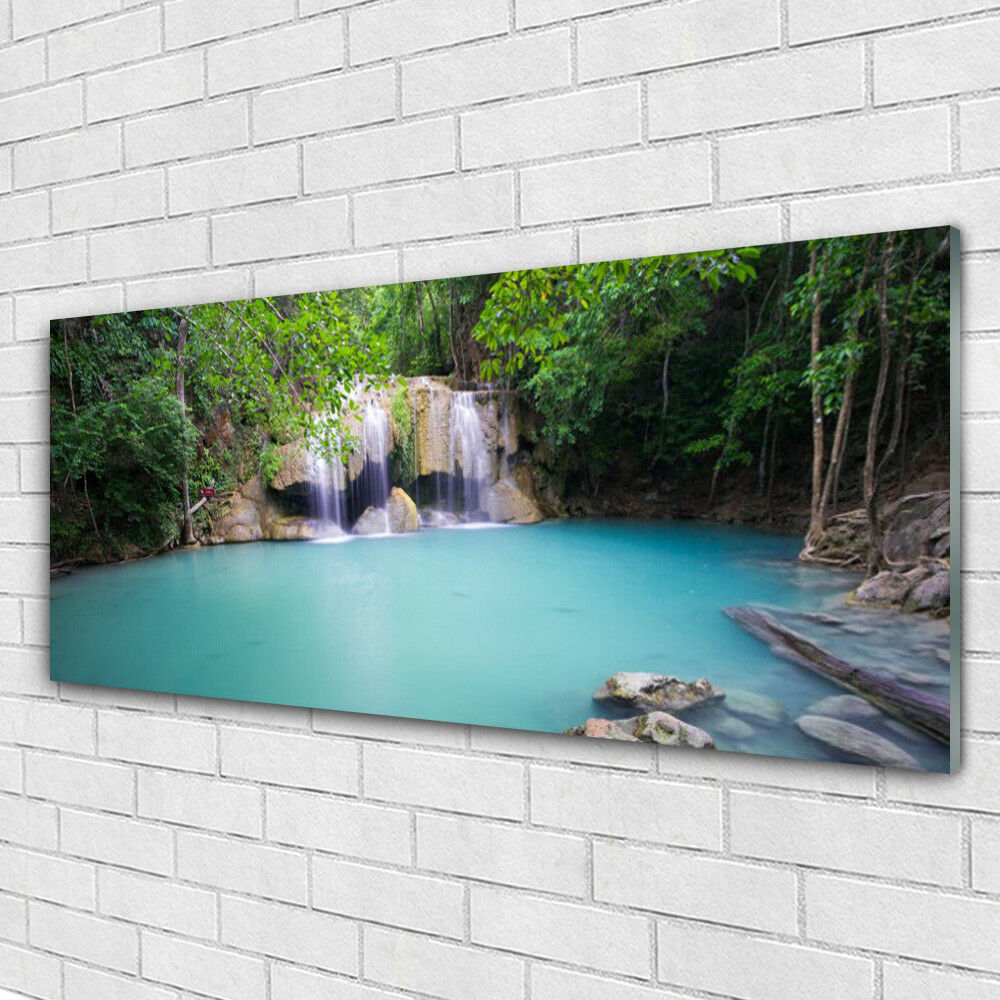 Acrylglasbilder Wandbilder aus Plexiglas® 125x50 Wasserfall Waldsee Natur