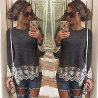 Womens Summer Vest Top Long Sleeve Blouse Casual Tank Tops T-Shirt Lace S M L XL