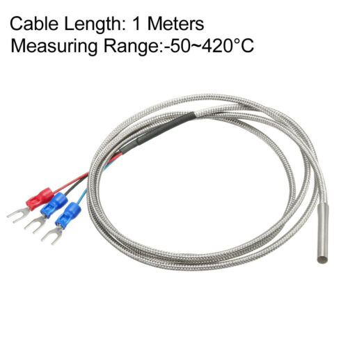 K Type Pt100 Temperature Sensor Probe 1-5 Meters Cable 4mmx30mm Thermocouple