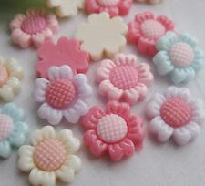 20PCS Resin Flower Flatback Buttons DIY Scrapbooking Appliques JCN055