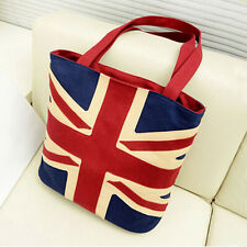 Fashion Womens Canvas Tote Handbag UK Flag Union Jack Style Shoulder Shopper Bag