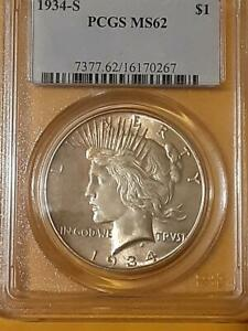 NICE Toned MS-62 PCGS 1934-S Silver Peace Dollar. Key DATE!