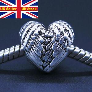 Grano plateado plata del encanto del amor corazón angelical plumas Ancla familia granos Fit PD