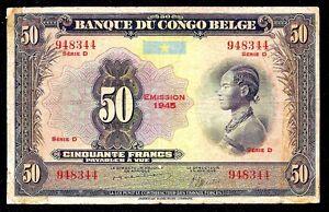 Belgian Congo 50  Francs 1945    P-16c   seris D   aVF