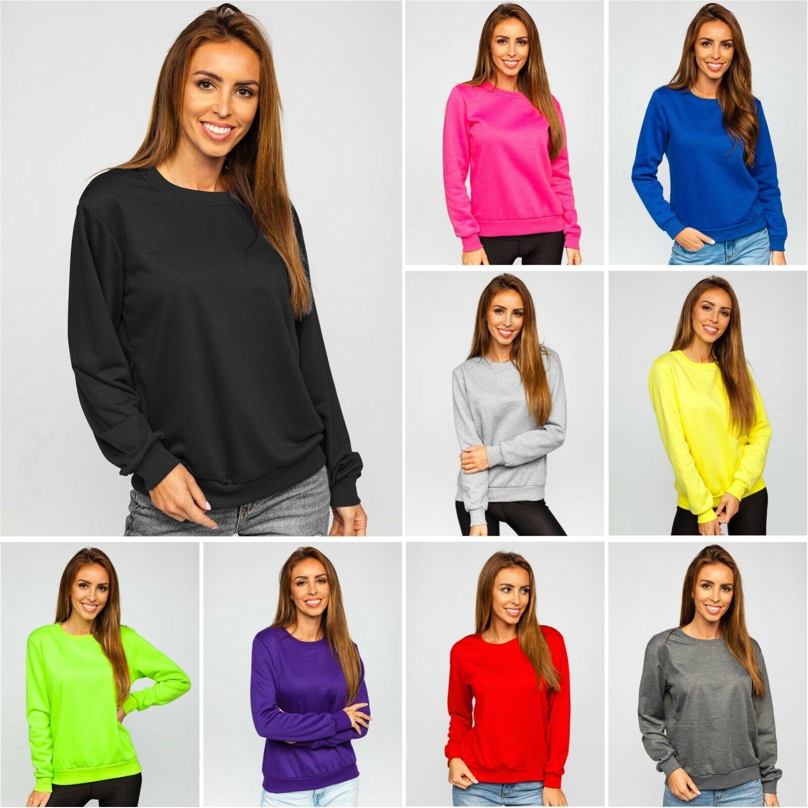 Sweatshirt Langarmshirt Pullover Basic Classic Sport Damen Mix BOLF Unifarben