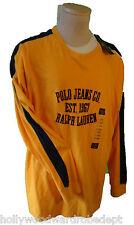 POLO ralph lauren JEAN co logo yellow xl racing stripe shirt NEW bumble bee